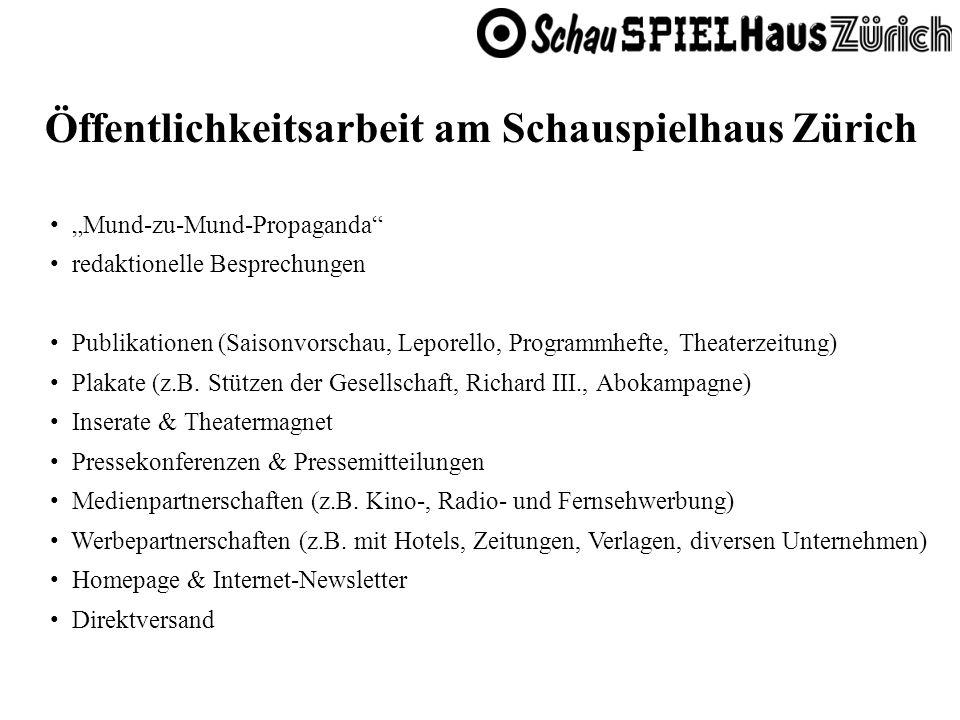 Öffentlichkeitsarbeit am Schauspielhaus Zürich