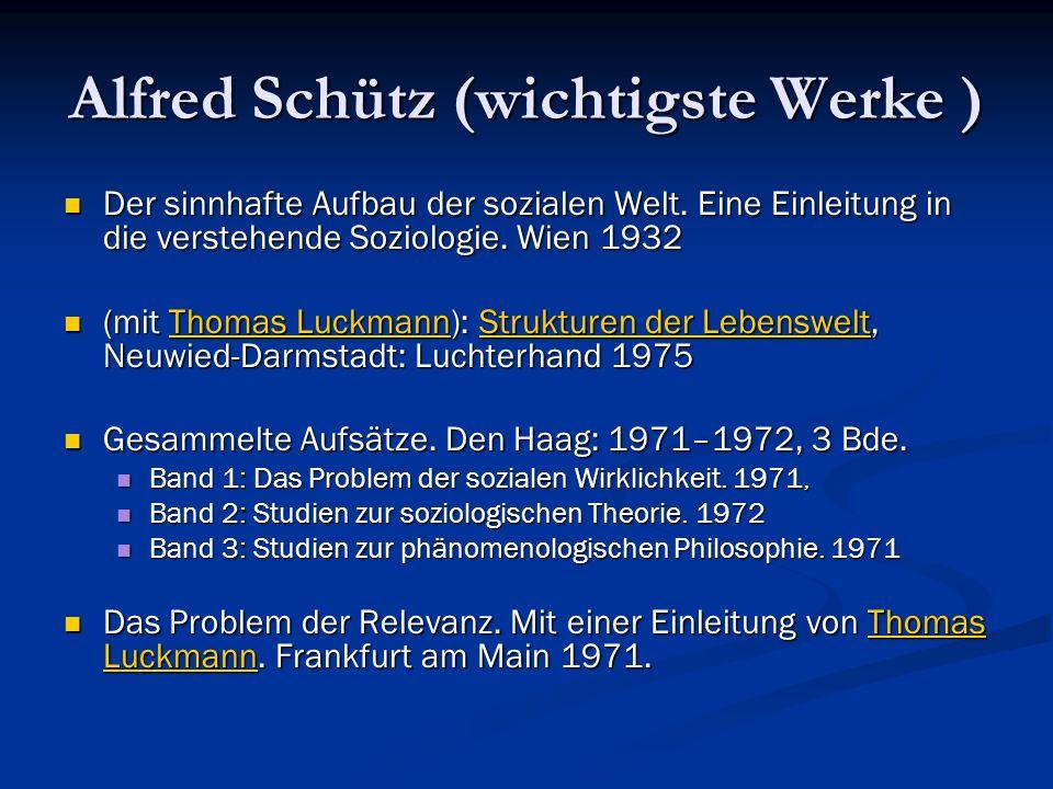 Alfred Schütz (wichtigste Werke )