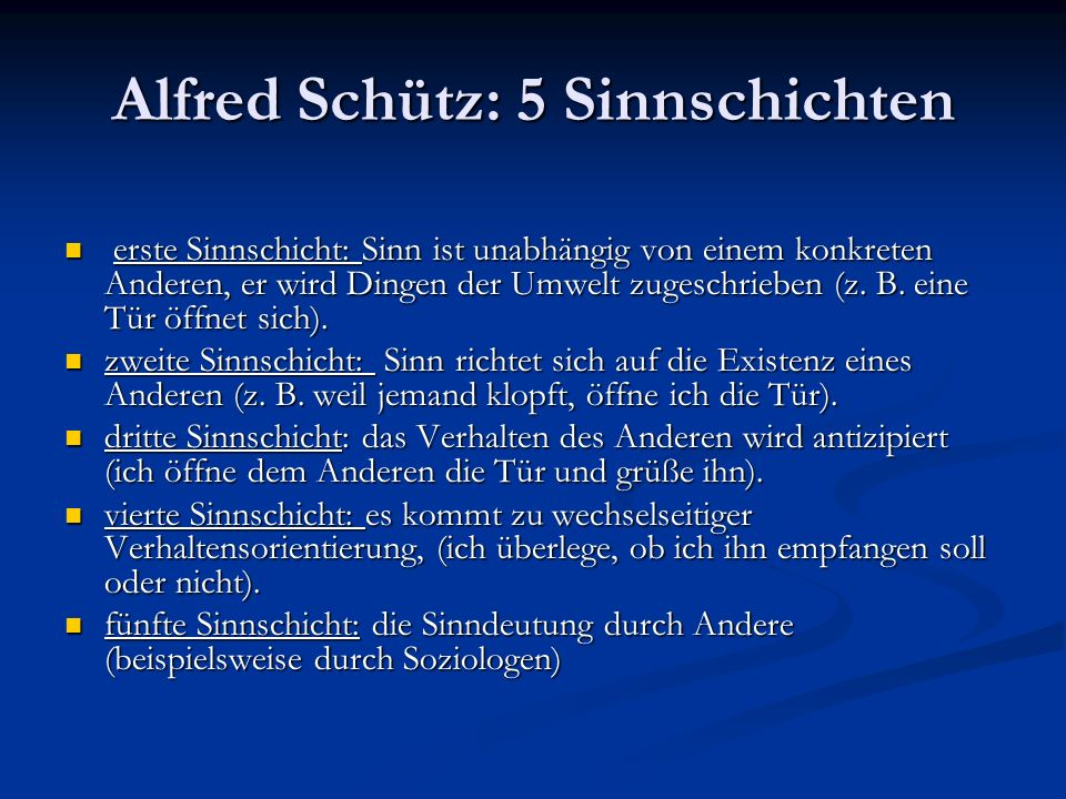 Alfred Schütz: 5 Sinnschichten