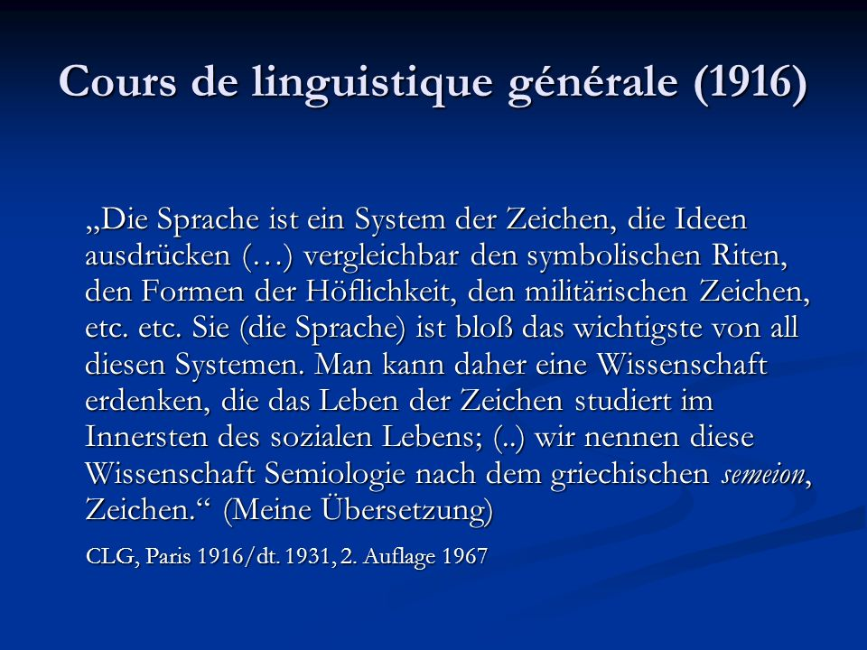 Cours de linguistique générale (1916)