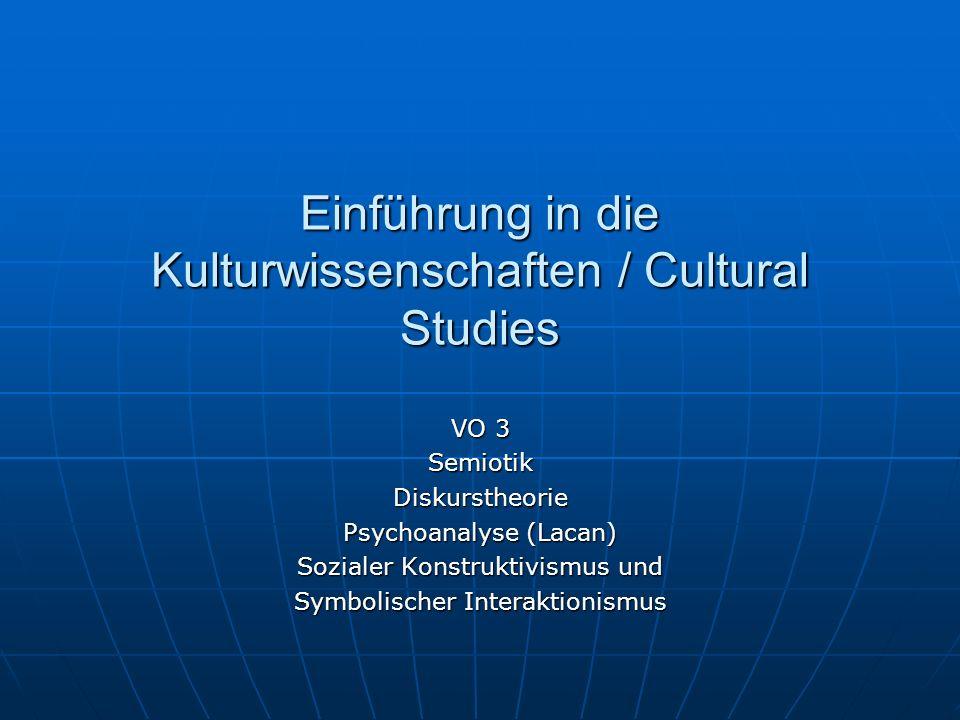 Einführung in die Kulturwissenschaften / Cultural Studies