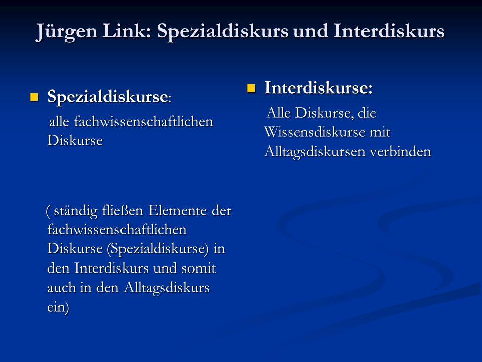 Jürgen Link: Spezialdiskurs und Interdiskurs