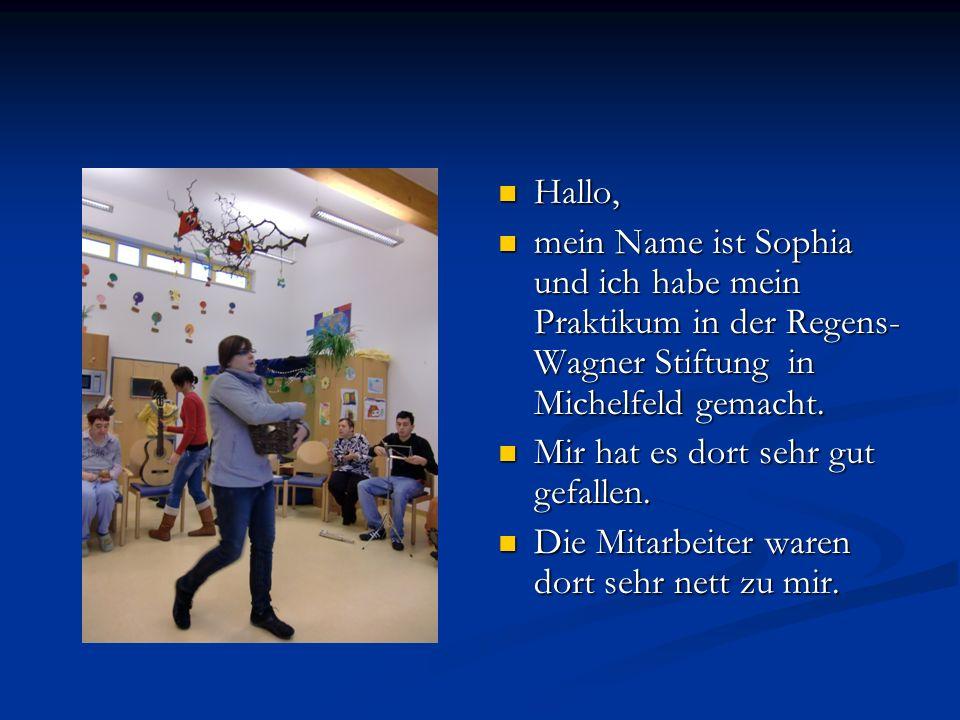 Hallo, mein Name ist Sophia und ich habe mein Praktikum in der Regens-Wagner Stiftung in Michelfeld gemacht.