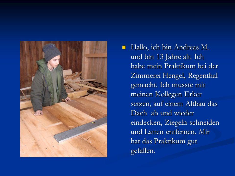 Hallo, ich bin Andreas M. und bin 13 Jahre alt