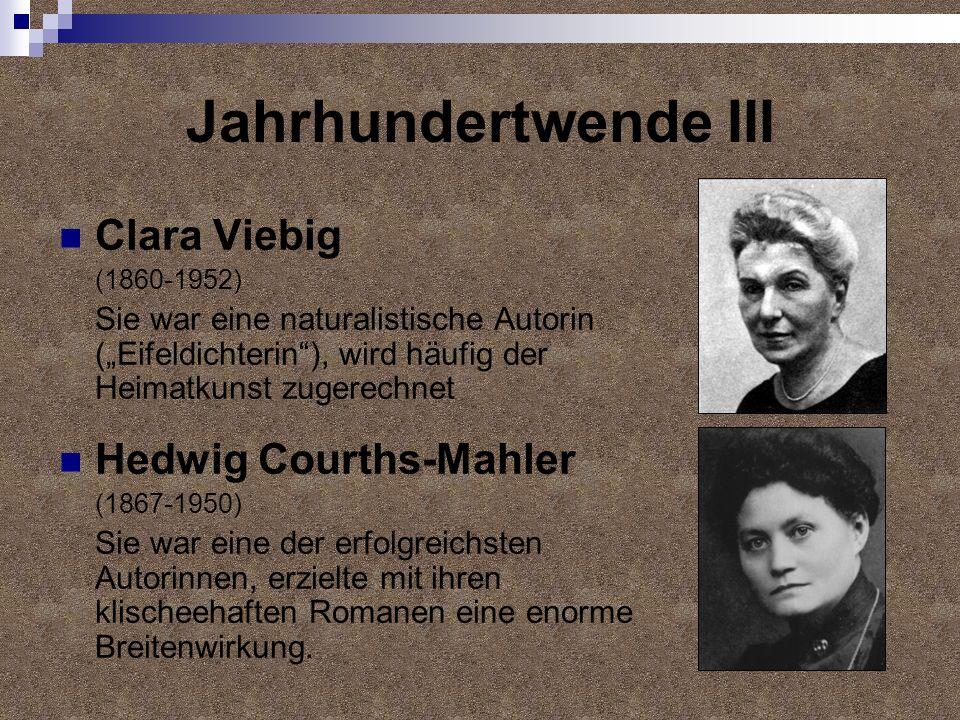 Jahrhundertwende III Clara Viebig Hedwig Courths-Mahler