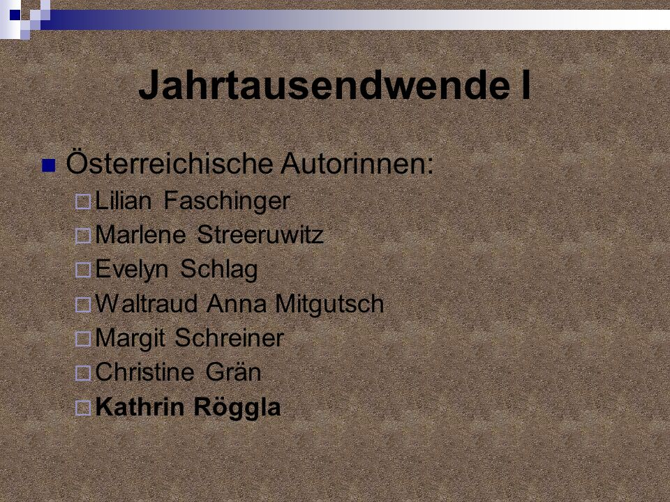 Jahrtausendwende I Österreichische Autorinnen: Lilian Faschinger