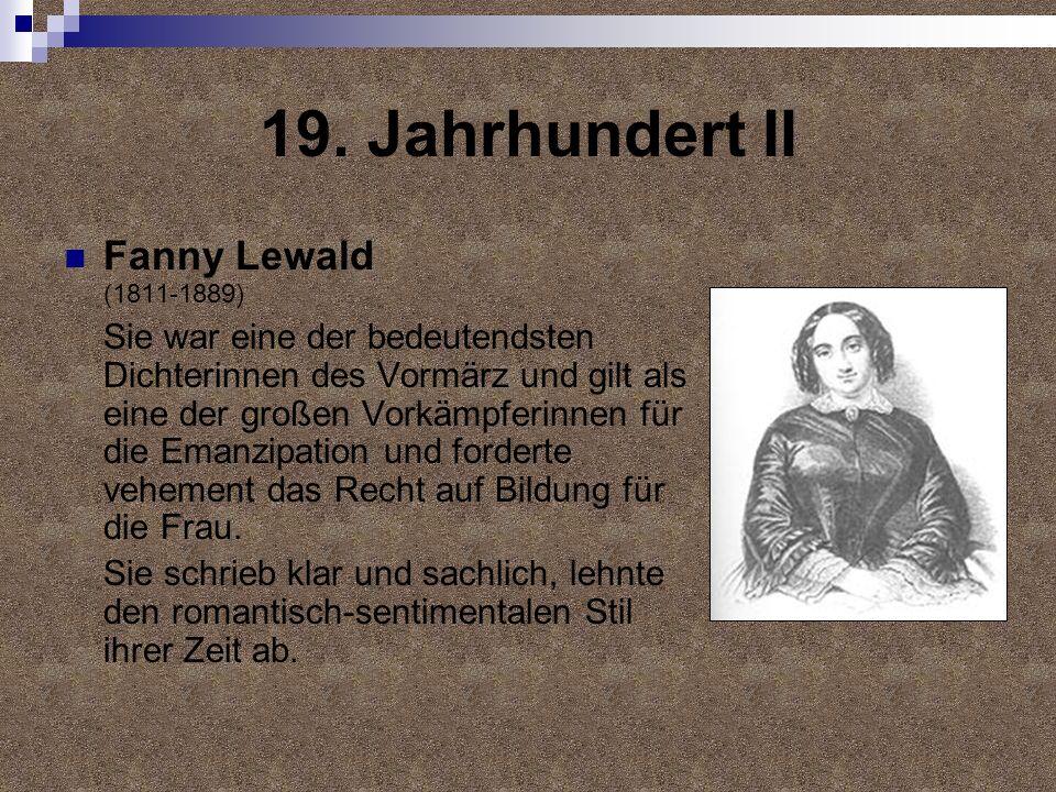 19. Jahrhundert II Fanny Lewald (1811-1889)