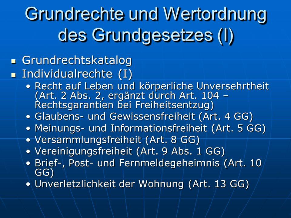 Grundrechte und Wertordnung des Grundgesetzes (I)