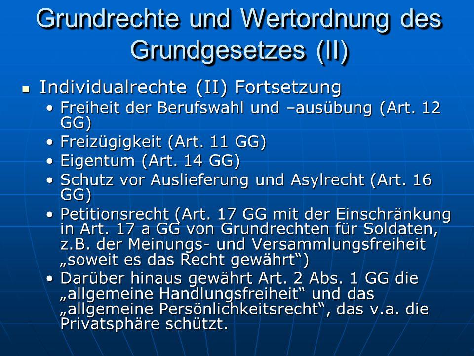 Grundrechte und Wertordnung des Grundgesetzes (II)