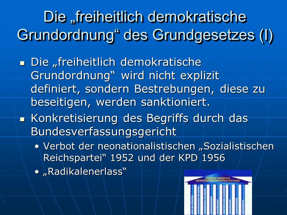 """Die """"freiheitlich demokratische Grundordnung des Grundgesetzes (I)"""