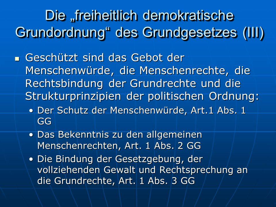"""Die """"freiheitlich demokratische Grundordnung des Grundgesetzes (III)"""