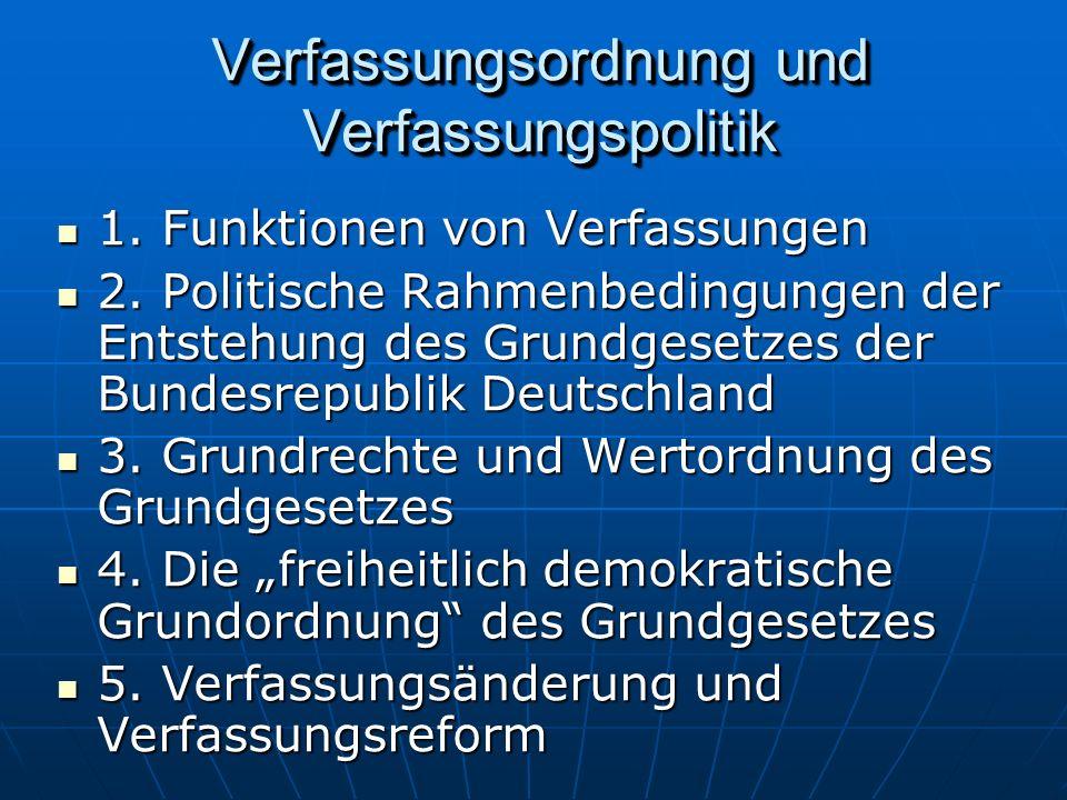 Verfassungsordnung und Verfassungspolitik