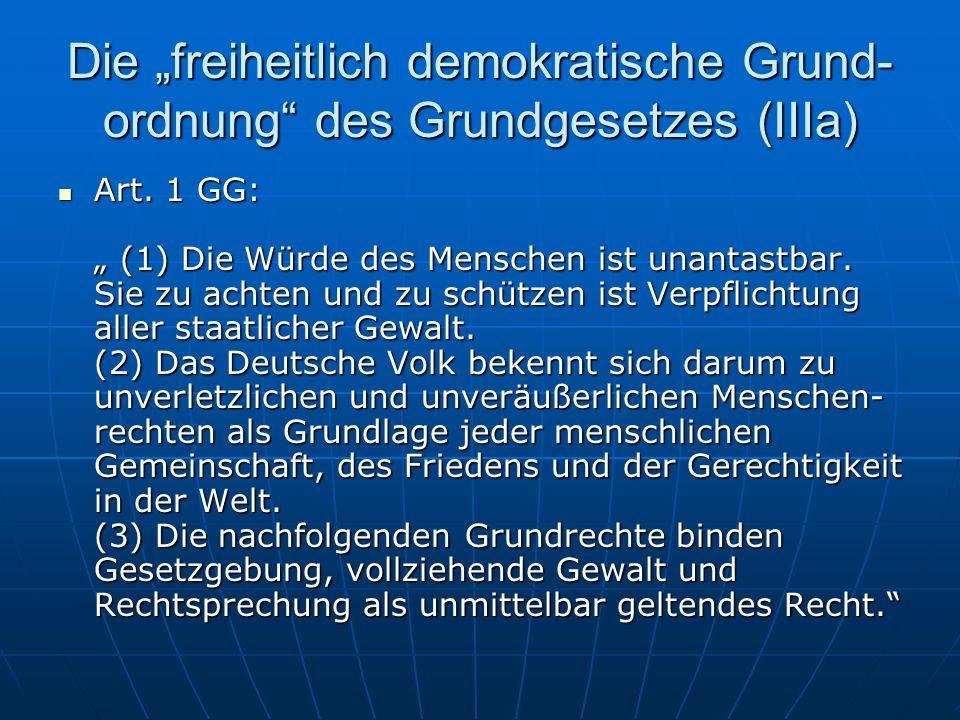 """Die """"freiheitlich demokratische Grund-ordnung des Grundgesetzes (IIIa)"""