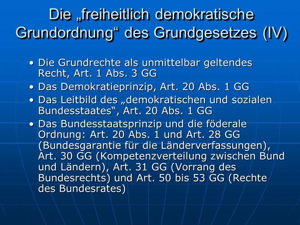 """Die """"freiheitlich demokratische Grundordnung des Grundgesetzes (IV)"""