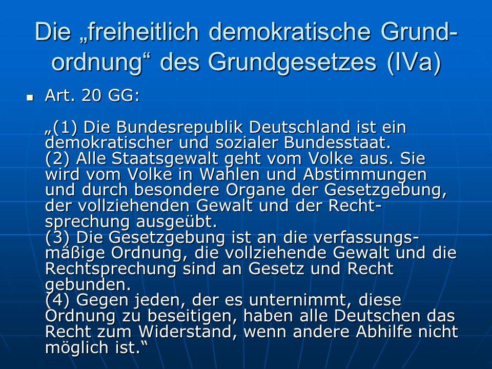 """Die """"freiheitlich demokratische Grund-ordnung des Grundgesetzes (IVa)"""