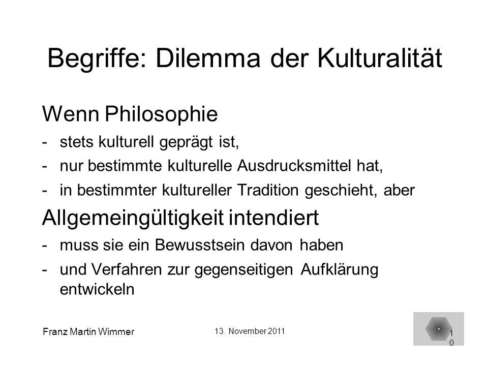 Begriffe: Dilemma der Kulturalität