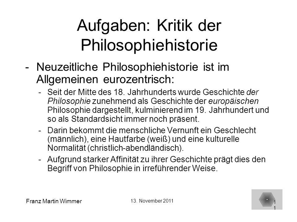 Aufgaben: Kritik der Philosophiehistorie