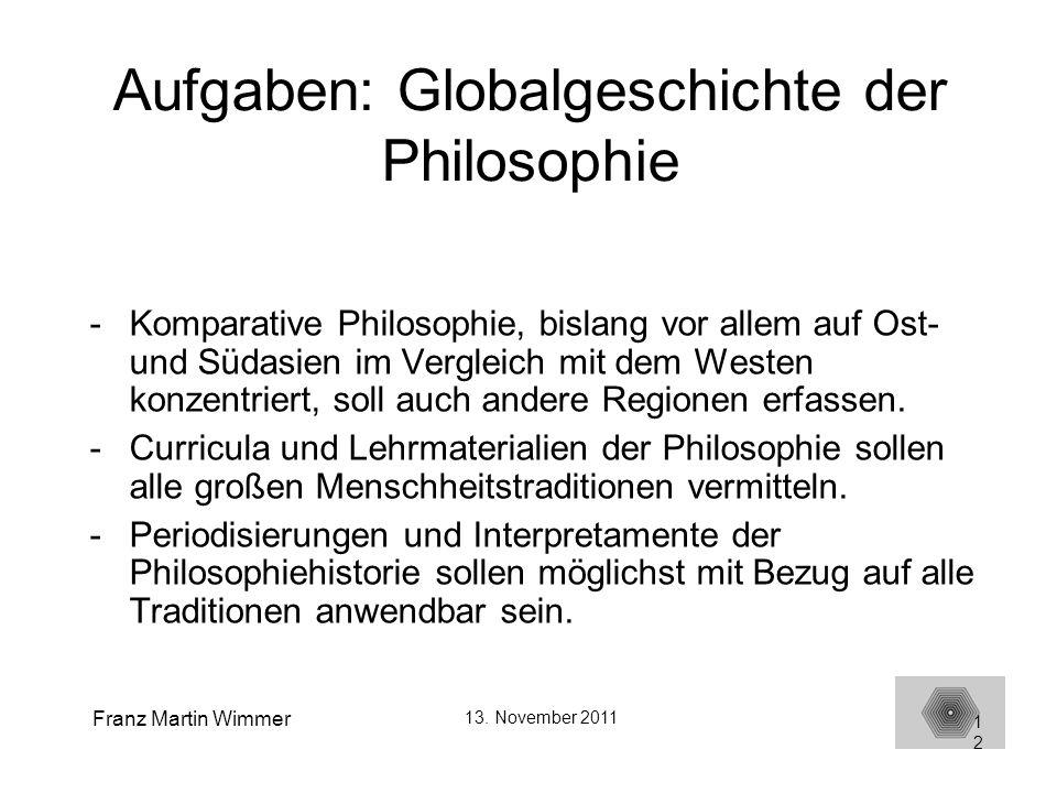 Aufgaben: Globalgeschichte der Philosophie