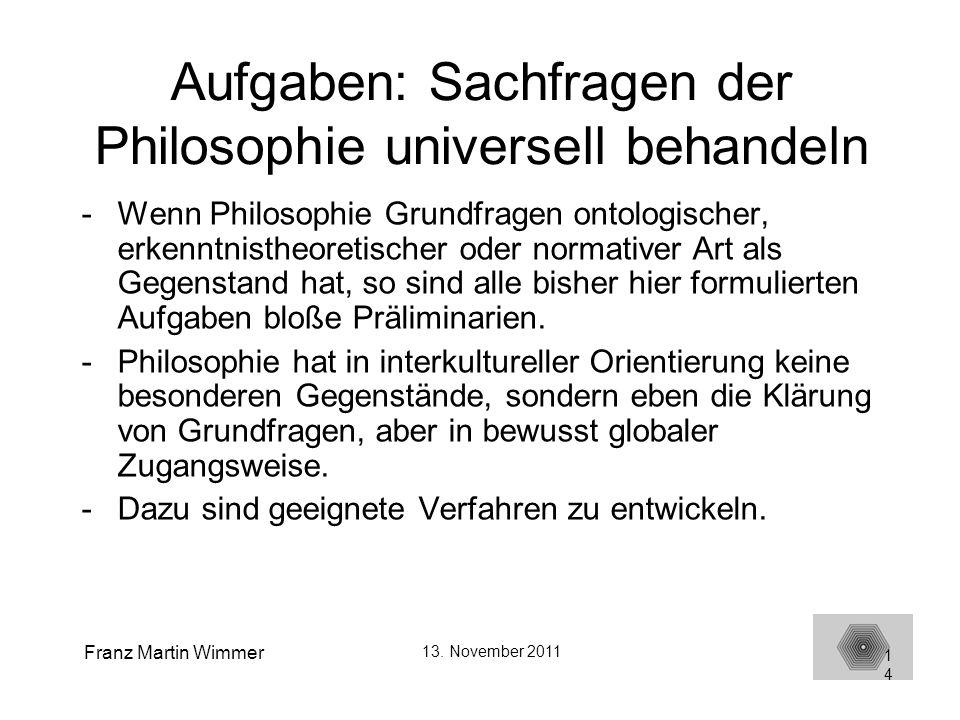 Aufgaben: Sachfragen der Philosophie universell behandeln