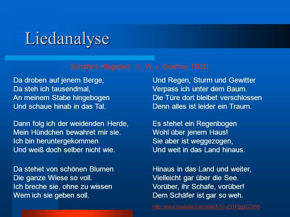 Liedanalyse Schäfers Klagelied (J. W. v. Goethe, 1802)