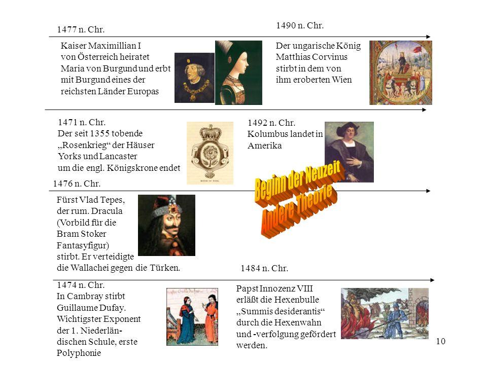 Beginn der Neuzeit Andere Theorie 1490 n. Chr. 1477 n. Chr.