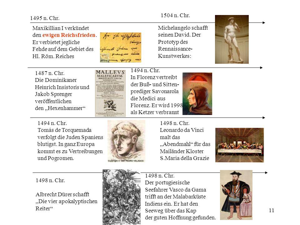 1504 n. Chr. 1495 n. Chr. Maxikillian I verkündet. den ewigen Reichsfrieden. Er verbietet jegliche.