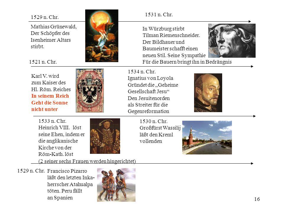 1531 n. Chr. 1529 n. Chr. Mathias Grünewald, Der Schöpfer des. Isenheimer Altars. stirbt. In Würzburg stirbt.