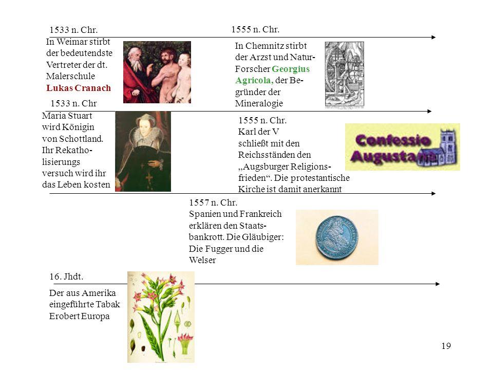 1533 n. Chr. 1555 n. Chr. In Weimar stirbt. der bedeutendste. Vertreter der dt. Malerschule. Lukas Cranach.