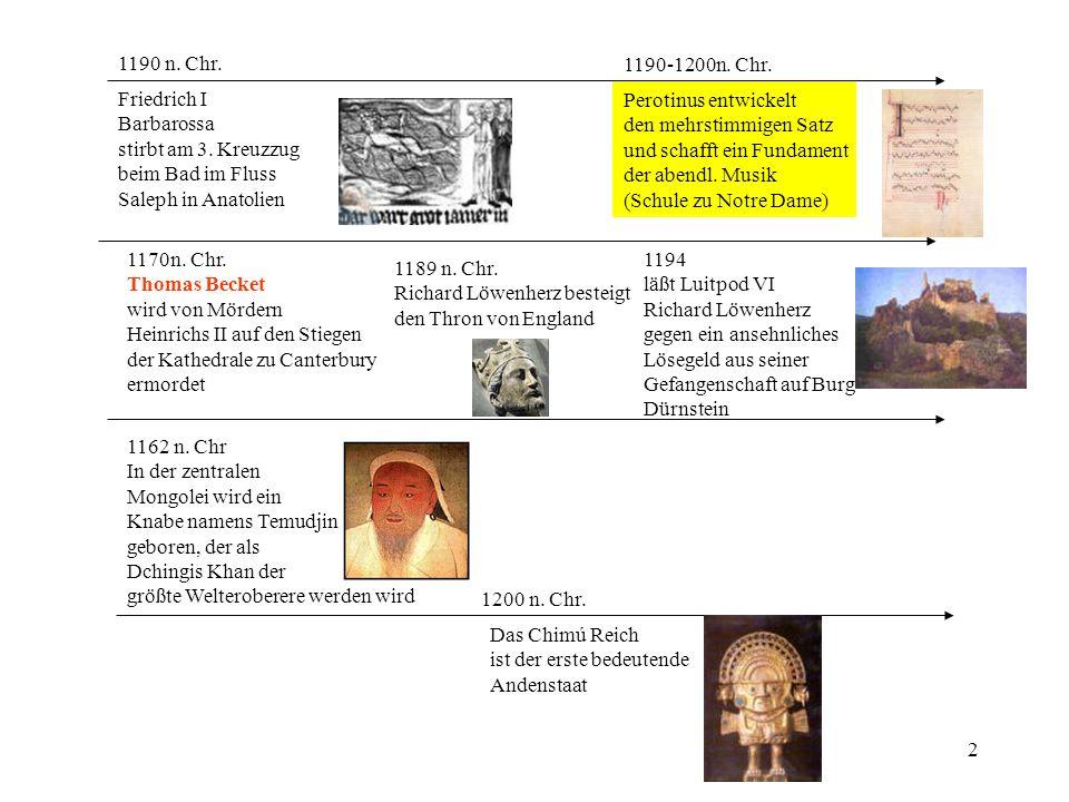 1190 n. Chr. 1190-1200n. Chr. Friedrich I. Barbarossa. stirbt am 3. Kreuzzug. beim Bad im Fluss.