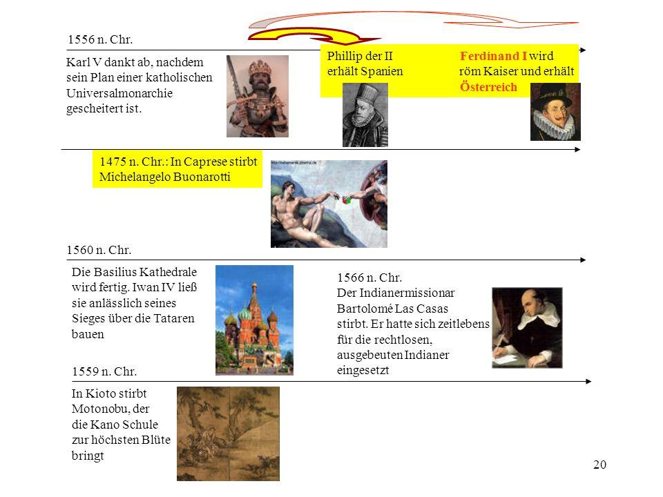 1556 n. Chr. Phillip der II Ferdinand I wird. erhält Spanien röm Kaiser und erhält.