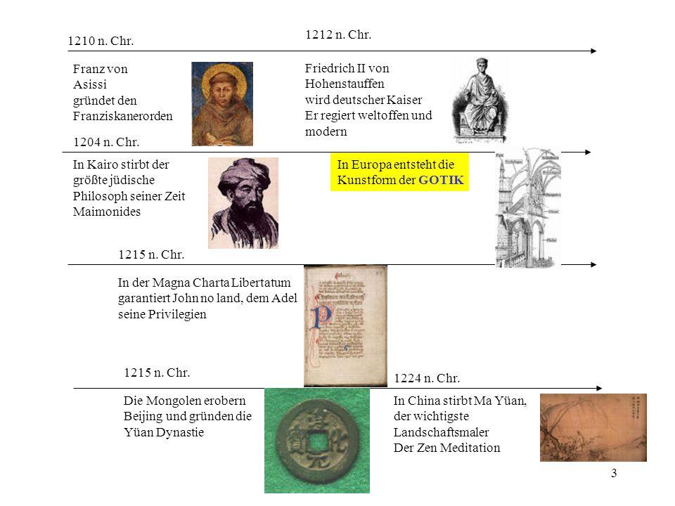 1212 n. Chr. 1210 n. Chr. Franz von. Asissi. gründet den. Franziskanerorden. Friedrich II von.