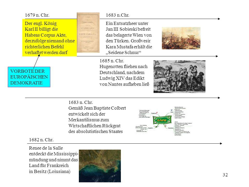 1679 n. Chr. 1683 n.Chr. Der engl. König. Karl II billigt die. Habeas Corpus Akte, derzufolge niemand ohne.