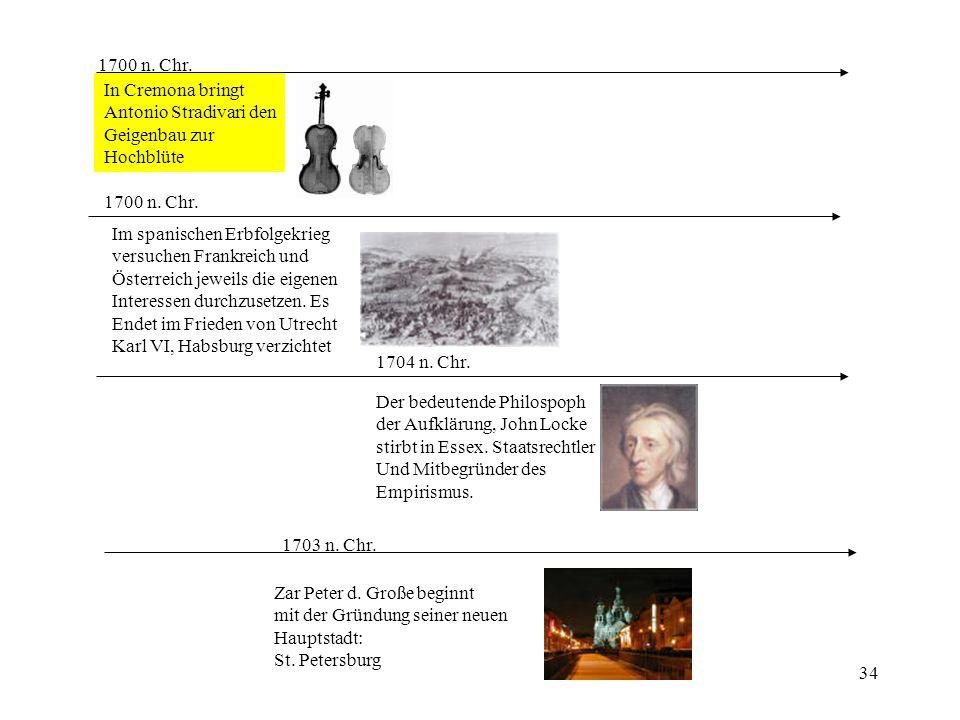 1700 n. Chr. In Cremona bringt. Antonio Stradivari den. Geigenbau zur. Hochblüte. 1700 n. Chr. Im spanischen Erbfolgekrieg.