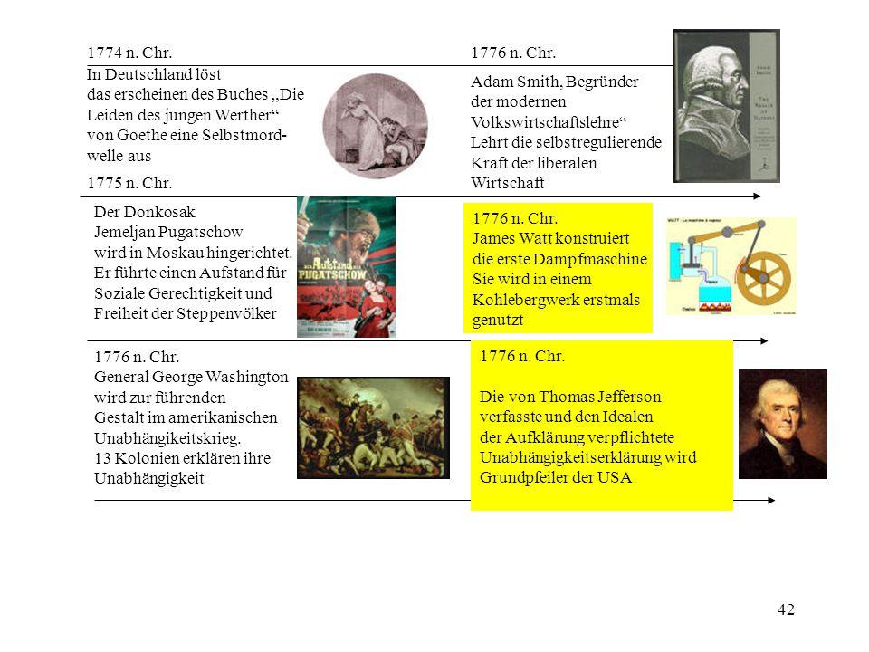 """1774 n. Chr. 1776 n. Chr. In Deutschland löst. das erscheinen des Buches """"Die. Leiden des jungen Werther"""