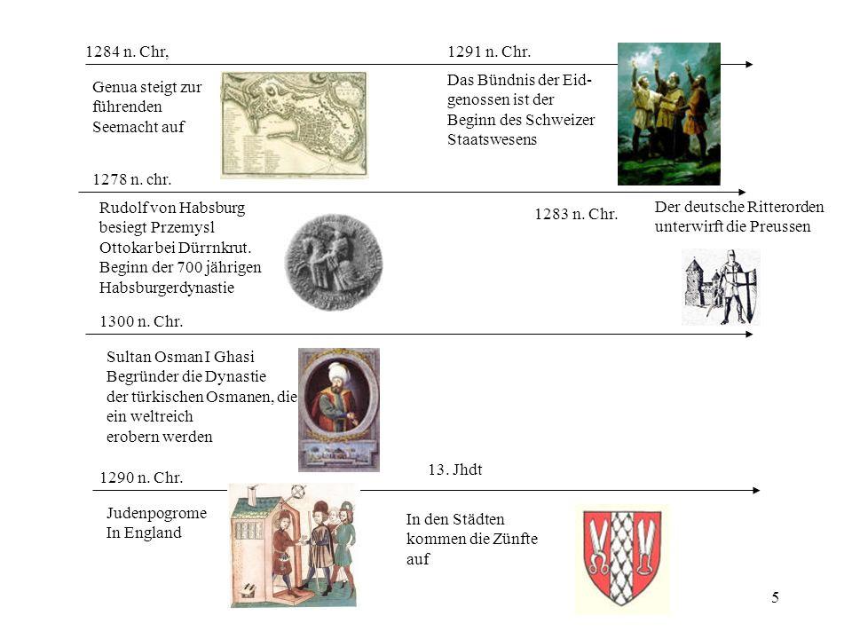 1284 n. Chr, 1291 n. Chr. Das Bündnis der Eid- genossen ist der. Beginn des Schweizer. Staatswesens.
