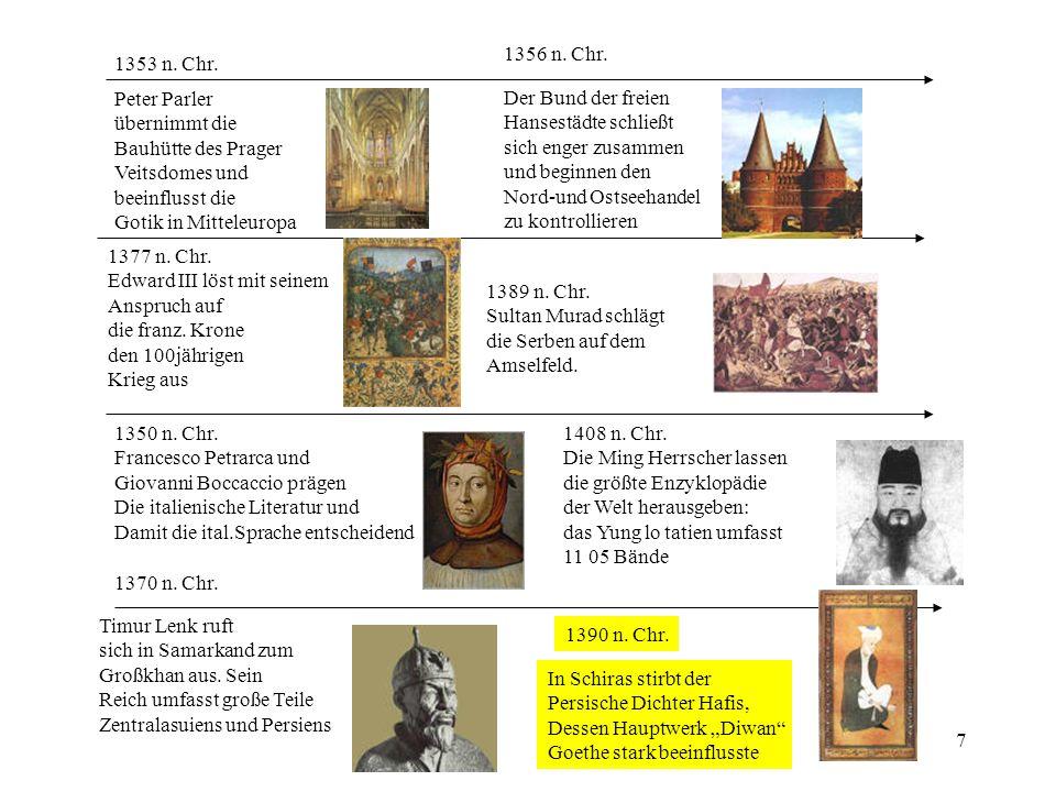 1356 n. Chr. 1353 n. Chr. Peter Parler. übernimmt die. Bauhütte des Prager. Veitsdomes und. beeinflusst die.