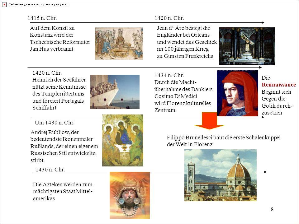 1415 n. Chr. 1420 n. Chr. Auf dem Konzil zu. Konstanz wird der. Tschechische Reformator. Jan Hus verbrannt.