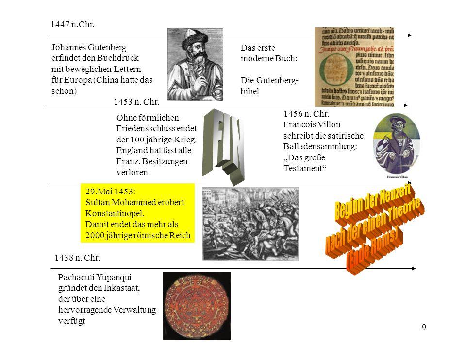 FIN Beginn der Neuzeit nach der einen Theorie (Ende Roms) FIN