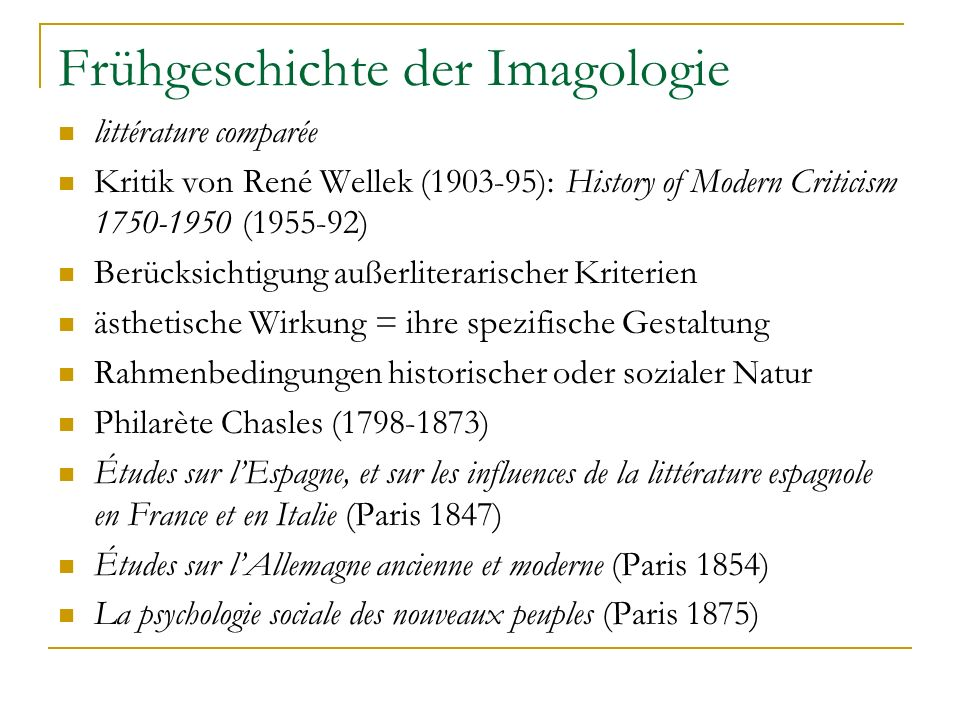 Frühgeschichte der Imagologie