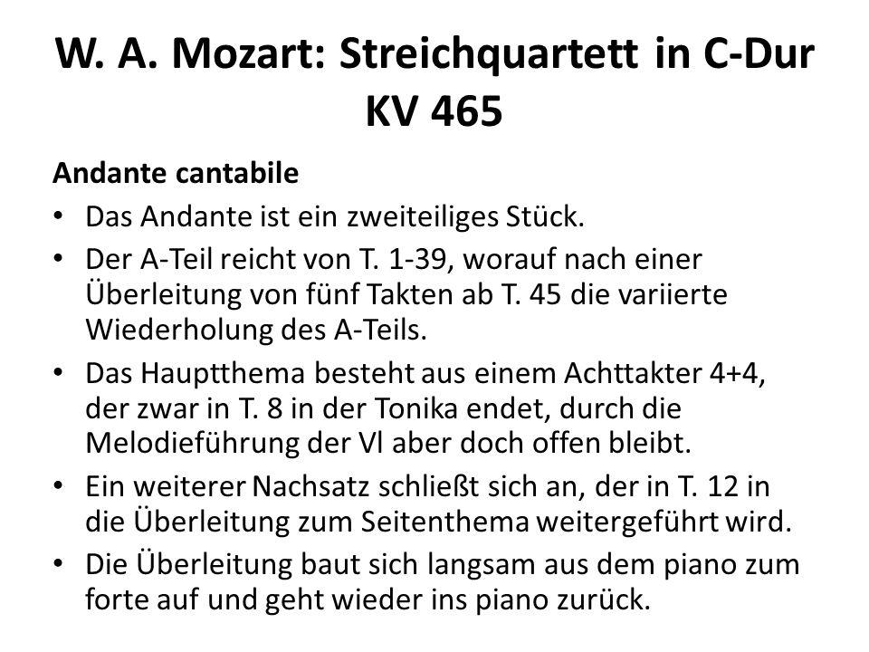 W. A. Mozart: Streichquartett in C-Dur KV 465