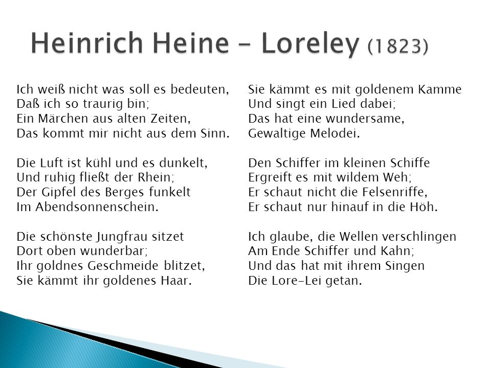 Heinrich Heine – Loreley (1823)