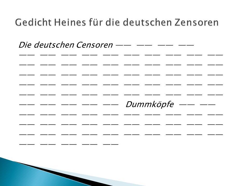 Gedicht Heines für die deutschen Zensoren