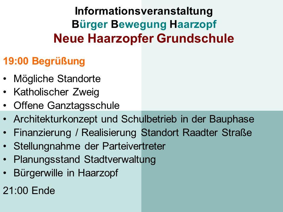 Informationsveranstaltung Bürger Bewegung Haarzopf Neue Haarzopfer Grundschule