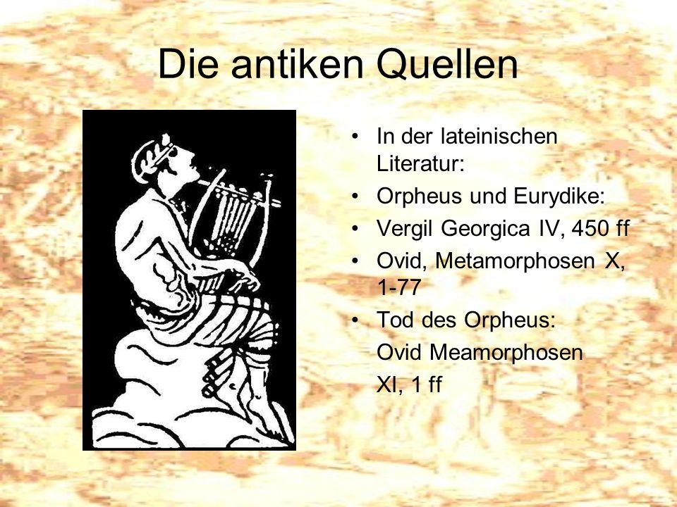 Die antiken Quellen In der lateinischen Literatur: