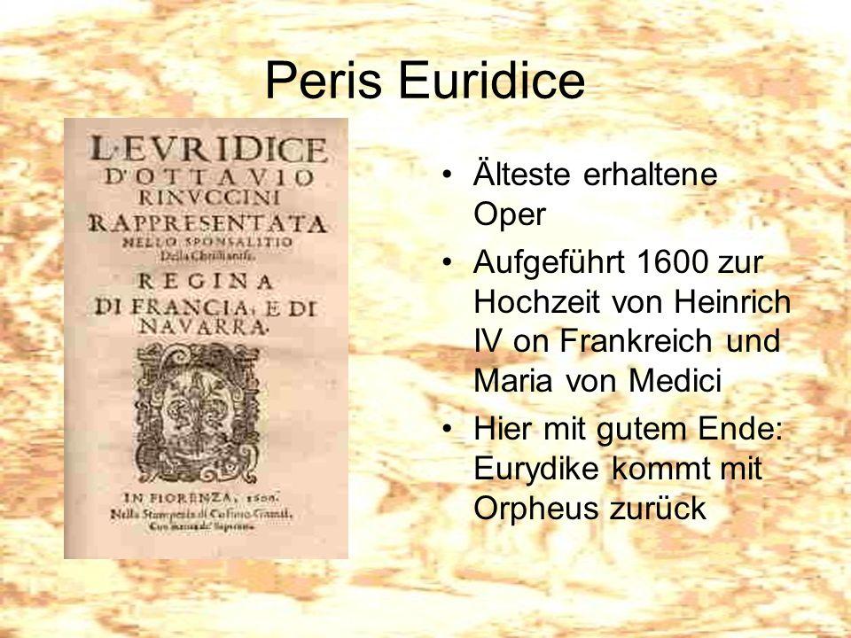 Peris Euridice Älteste erhaltene Oper
