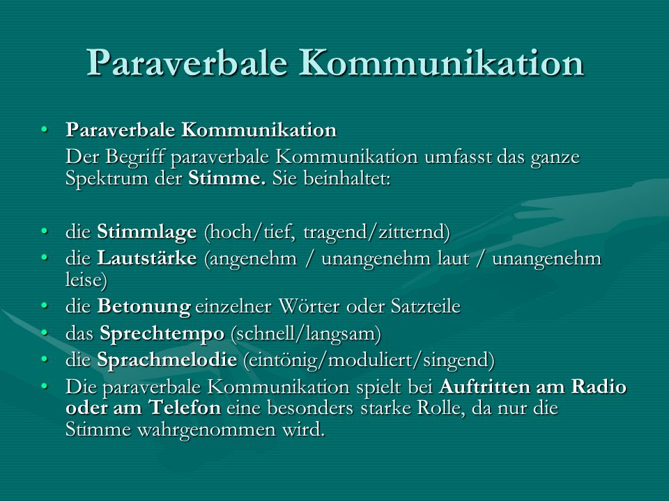 Paraverbale Kommunikation