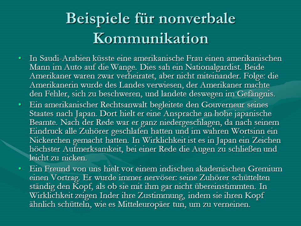 Beispiele für nonverbale Kommunikation