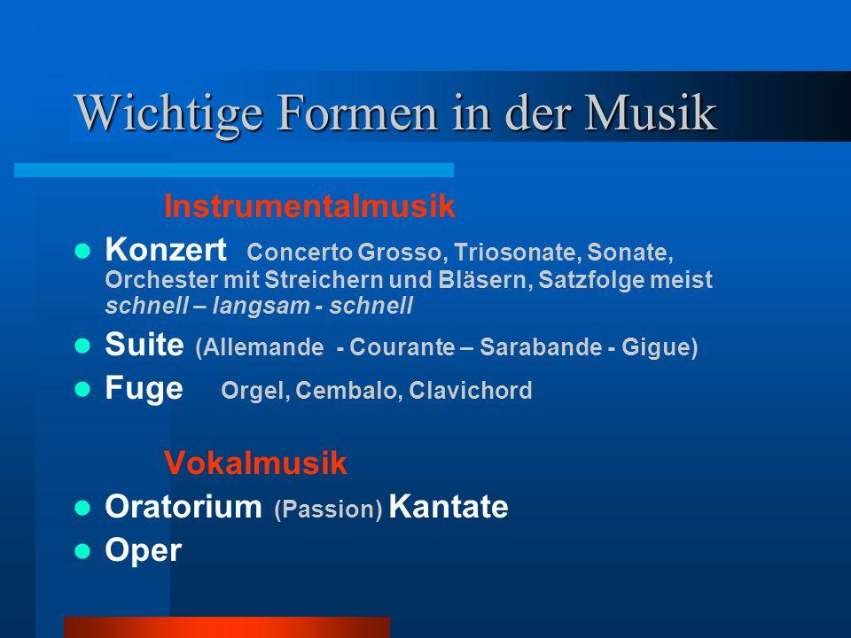 Wichtige Formen in der Musik