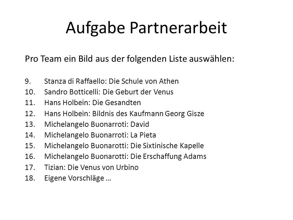 Aufgabe Partnerarbeit