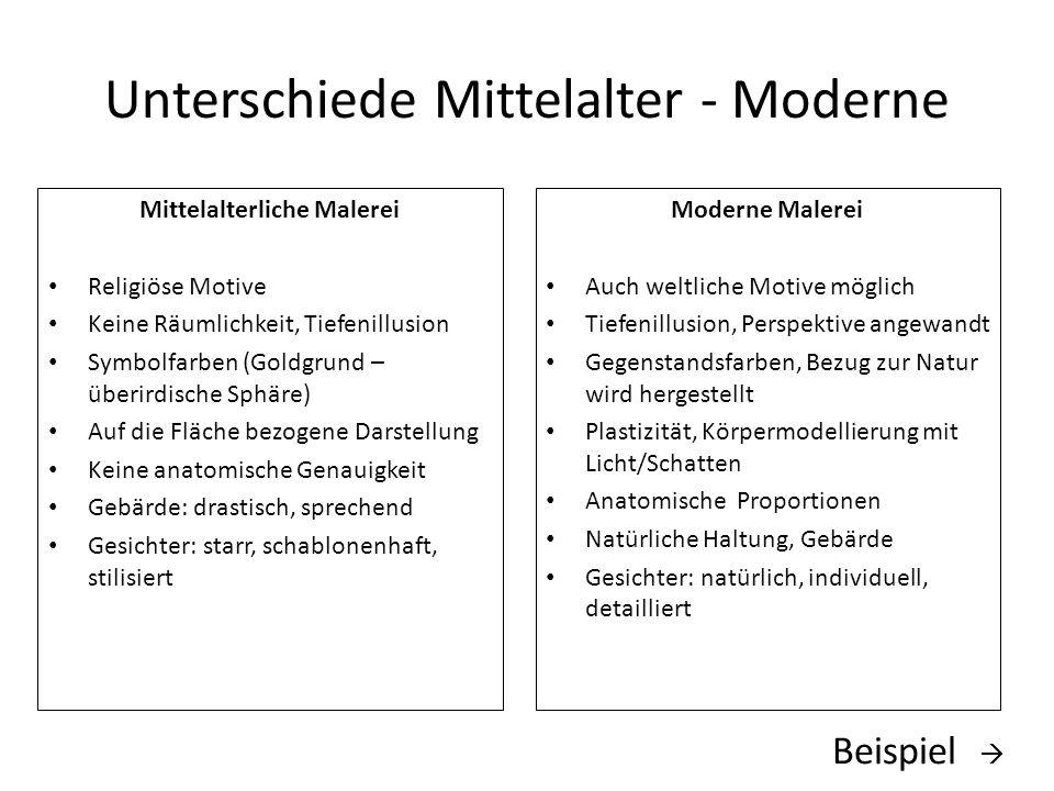Unterschiede Mittelalter - Moderne